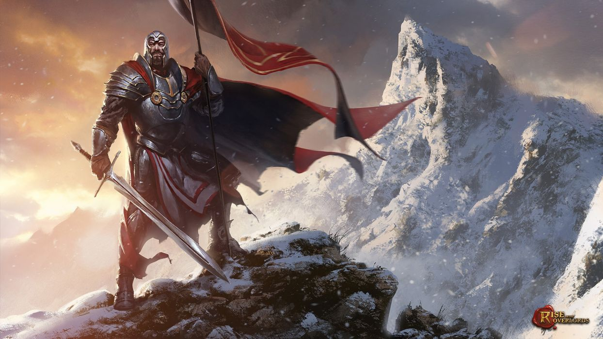 grzegorz-rutkowski human overlord fantasy human overlord knight sword mountains snow male sword wallpaper