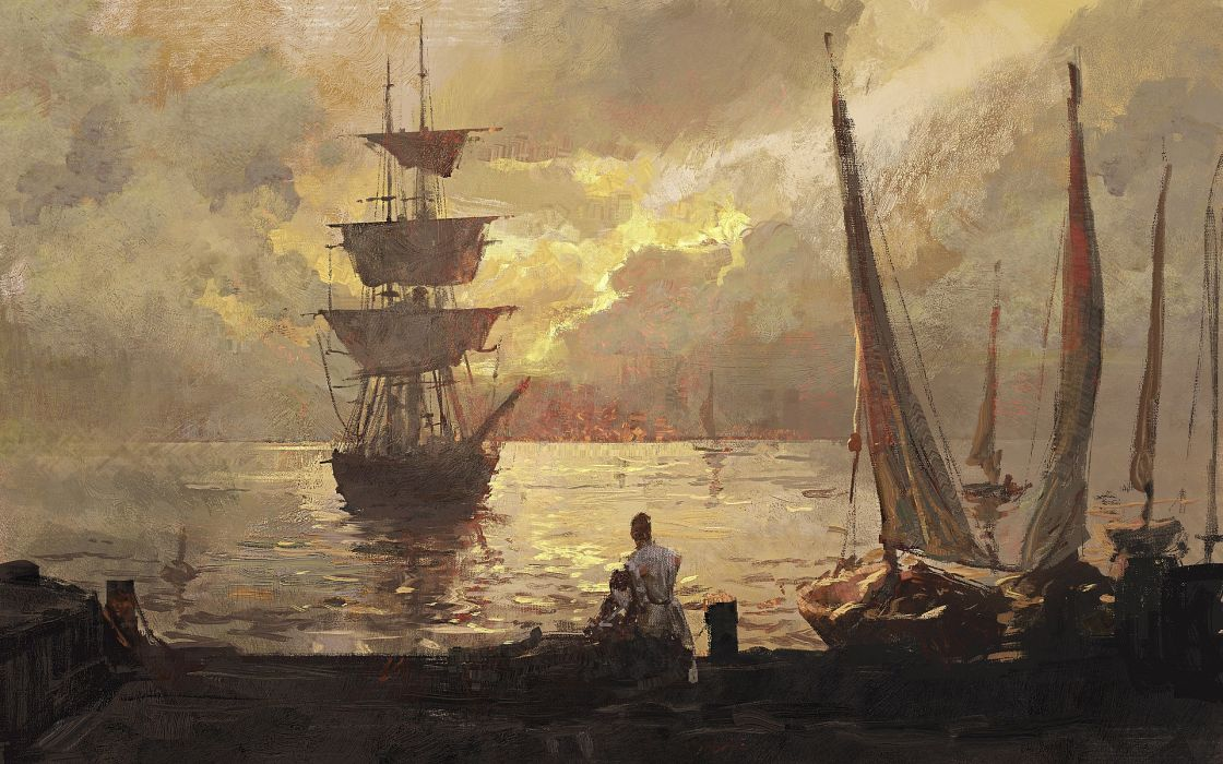 greg-rutkowski ship traditional look digital painting oil brush sea wallpaper