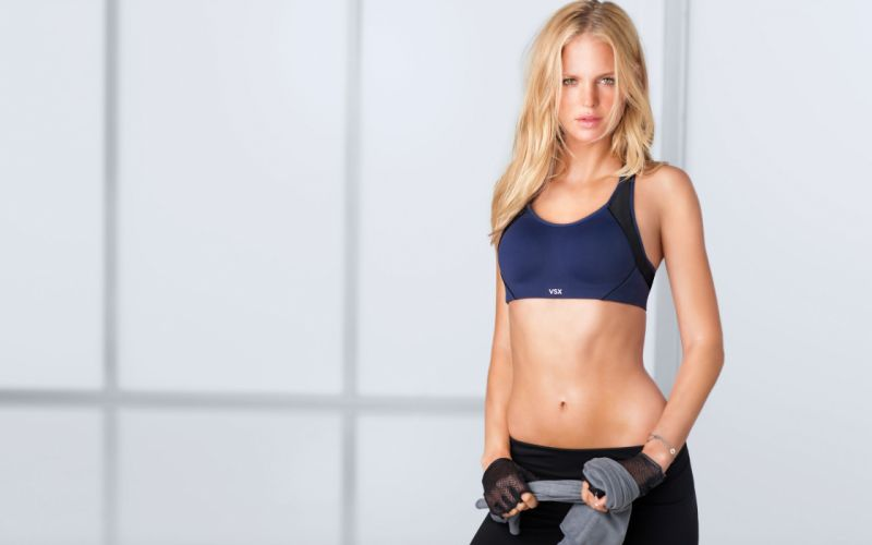 Sensuality sensual sexy girl woman model body fitness sport sportswear belly abs navel bra towel Erin-Heatherton wallpaper