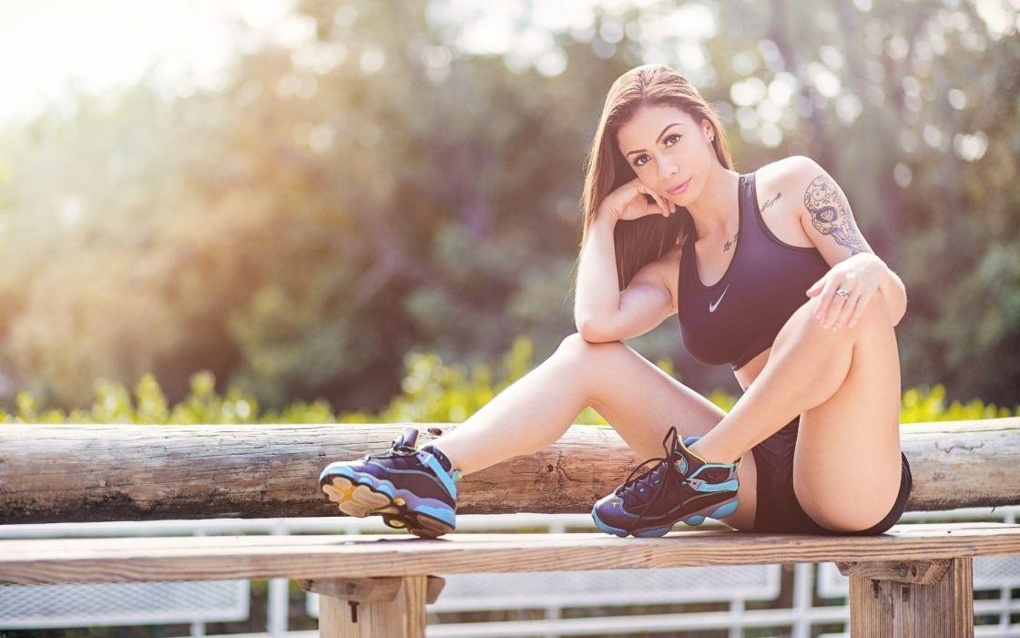 Sensuality sensual sexy girl woman model body fitness sport sportswear legs knees sitting sneakers tattoo Natalia-Vargas wallpaper