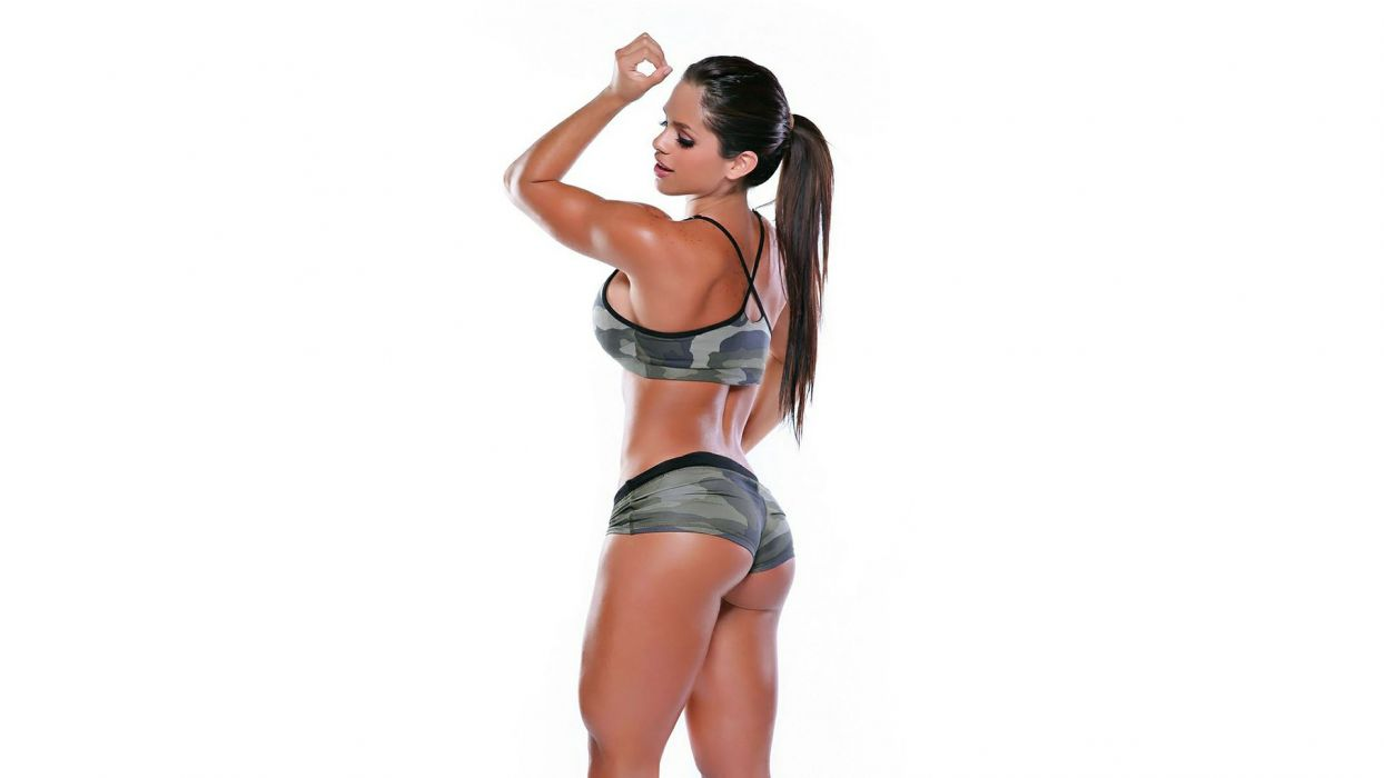 Sensuality sensual sexy girl woman model body fitness sport sportswear legs thighs muscles shorts camouflaged sweat sweaty skinny ponytail Michelle-Lewin wallpaper