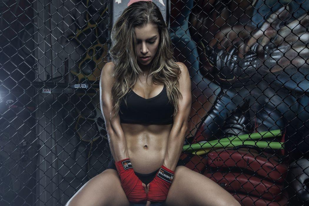 Sport sensuality sensual sexy girl woman model body fitness workout sportswear belly abs navel muscles gym sweat sweaty Anllela Sagra wallpaper