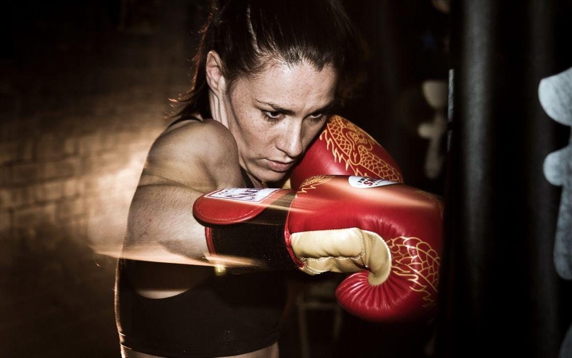 Sport sensuality sensual sexy girl woman model body fitness workout sportswear gym boxing fight gloves bag kickboxing wallpaper