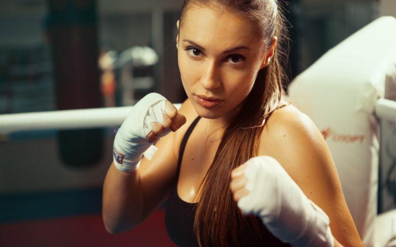Sport sensuality sensual sexy girl woman model body fitness workout sportswear gym boxing ring porteit Valeria-Guznenkova wallpaper