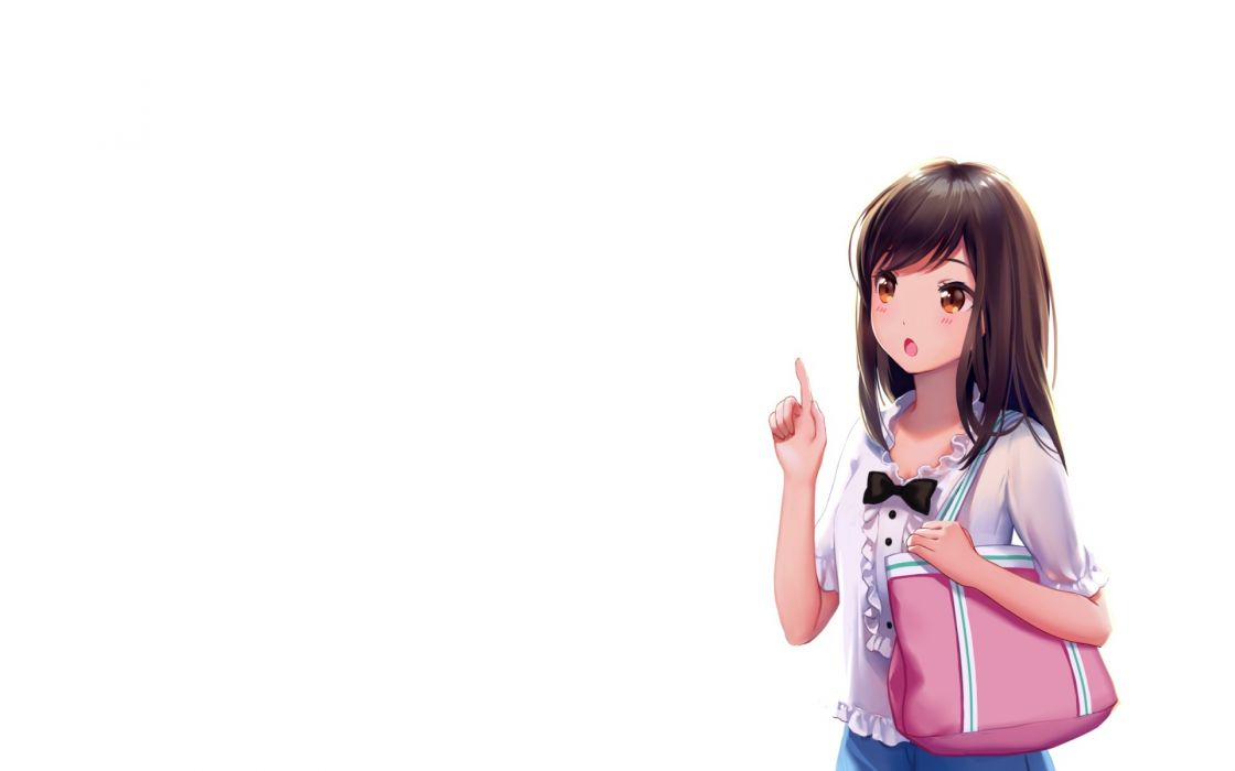 Konachan com - 239965 blush bow brown eyes brown hair long hair original white yin wallpaper