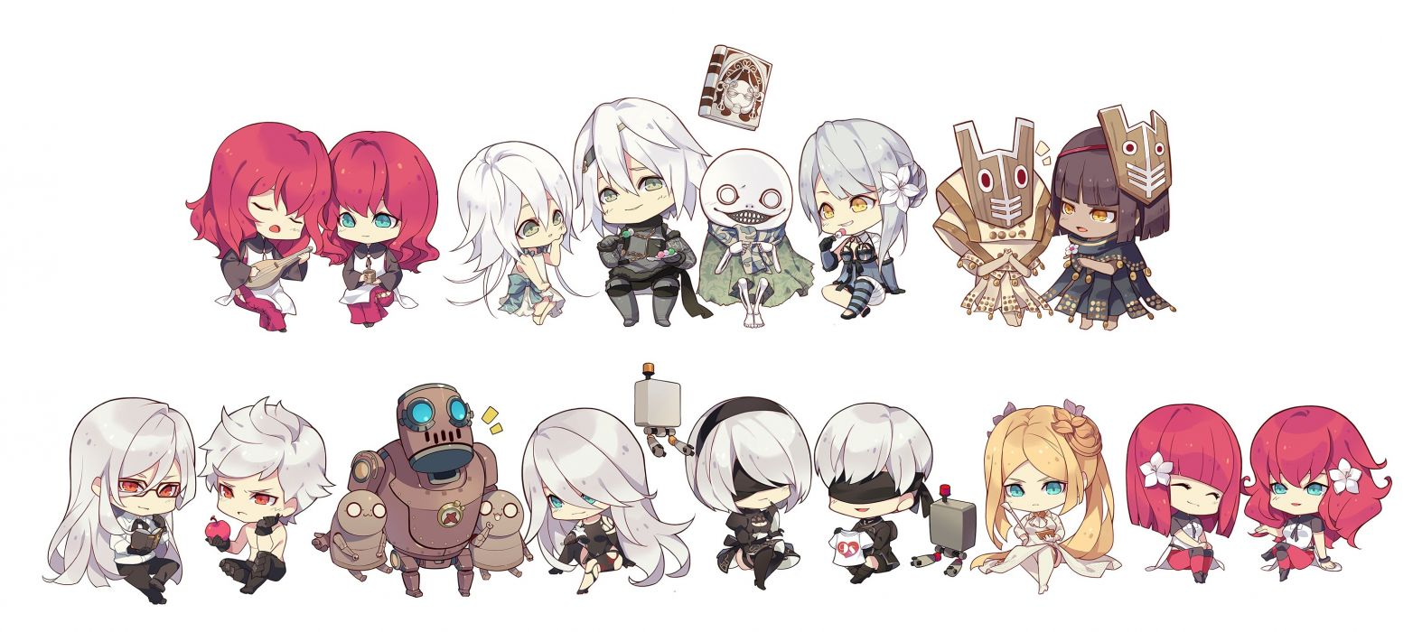 Konachan com - 240075 apple aqua eyes blindfold book chibi debol emil food fruit glasses gray hair group kaine male mask nier popol red eyes red hair robot white yonah wallpaper