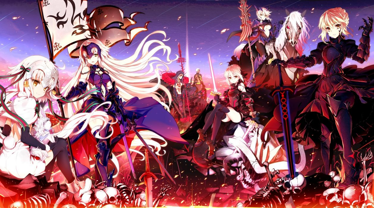 Konachan com - 240078 animal armor bones bow breasts cape chain gloves group headdress horse long hair male navel ribbons saber sky spear stockings sword tail tattoo weapon wallpaper
