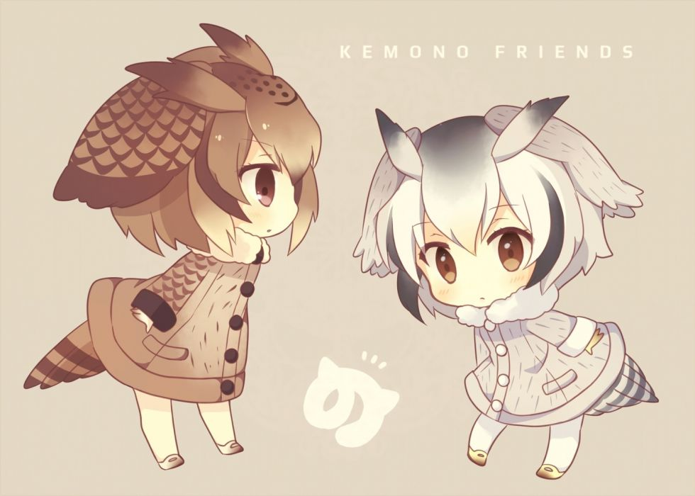 Konachan com - 240137 2girls anthropomorphism blush brown eyes brown hair chibi gray hair kemono friends konno (pixiv23416142) short hair waifu2x wallpaper