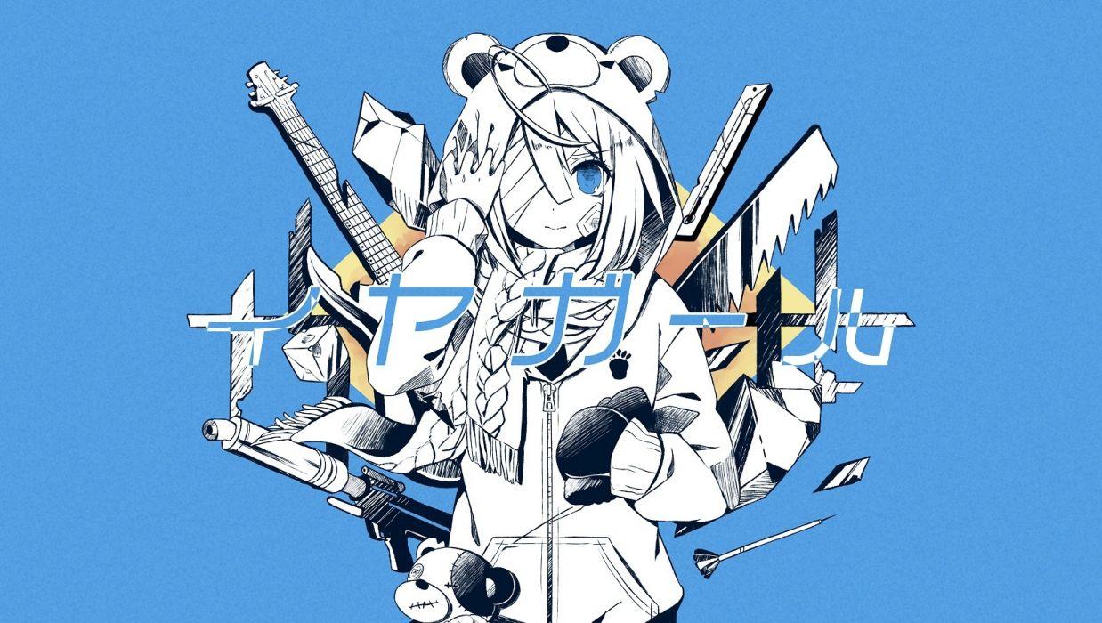 Konachan com - 240153 aliasing bandage blue blue eyes hoodie instrument nou polychromatic scarf short hair teddy bear vocaloid wallpaper
