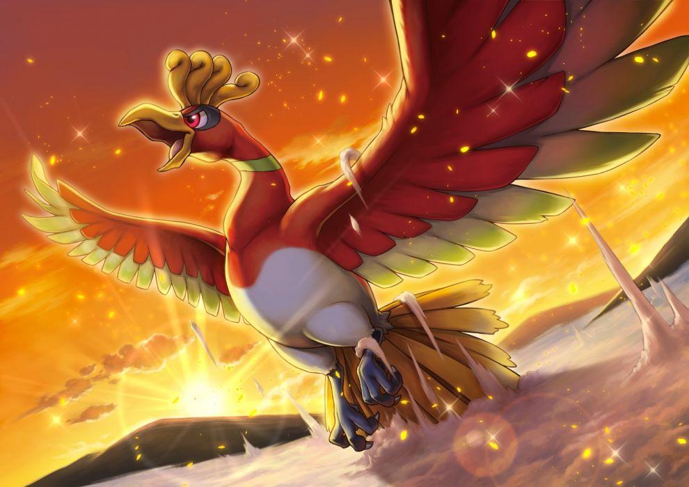 Konachan com - 240190 animal bird clouds ho-oh nobody pokemon sky sunset tagme (artist) wallpaper