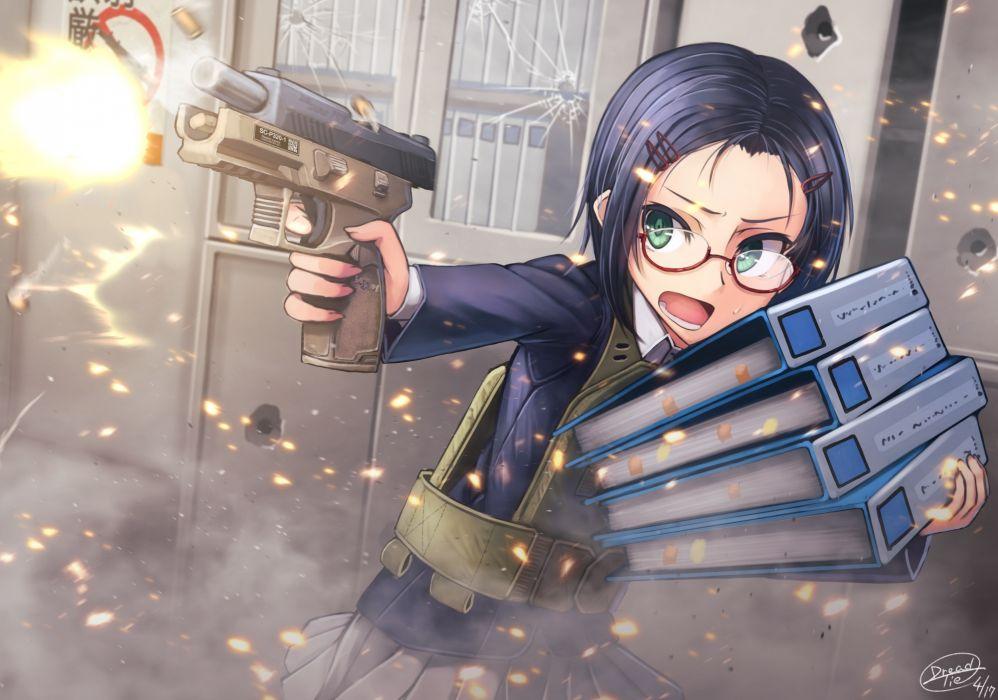 Konachan com - 240248 blue hair book dreadtie glasses green eyes gun original seifuku short hair signed skirt weapon wallpaper
