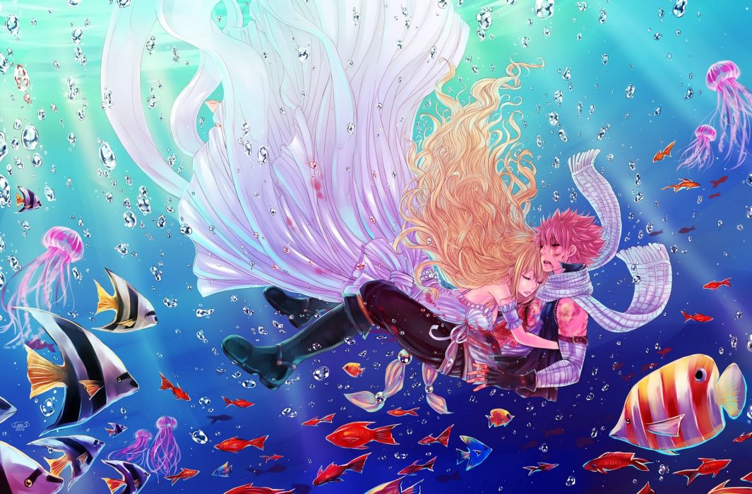 Konachan com - 240302 animal bandage blonde hair breasts bubbles dress fairy tail fish gloves hug leonstar long hair male pink hair scarf short hair underwater water wallpaper