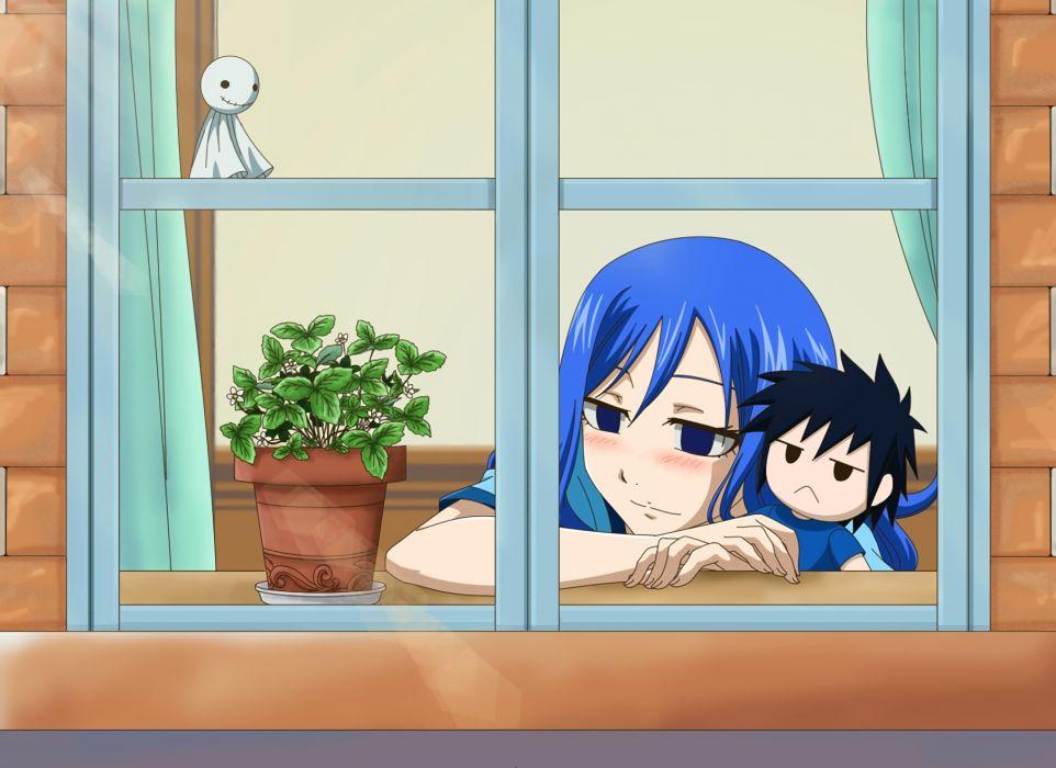 Konachan com - 240331 blue eyes blue hair bluesnowcat blush doll fairy tail flowers gray fullbuster juvia loxar short hair waifu2x wallpaper