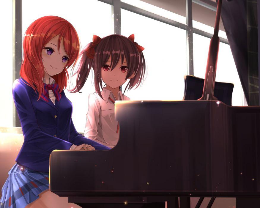 Konachan com - 240355 2girls black hair bow cropped instrument nishikino maki orein piano purple eyes red eyes red hair seifuku short hair skirt yazawa nico wallpaper