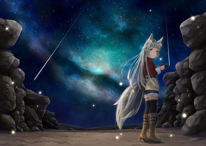 Konachan com - 240368 animal ears boots camera gray hair hyouta (yoneya) night original sky stars tail thighhighs wallpaper