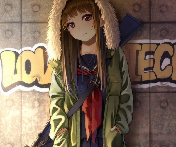 Konachan com - 240415 brown hair cropped graffiti gun hoodie kentaurosu long hair original red eyes seifuku waifu2x weapon wallpaper