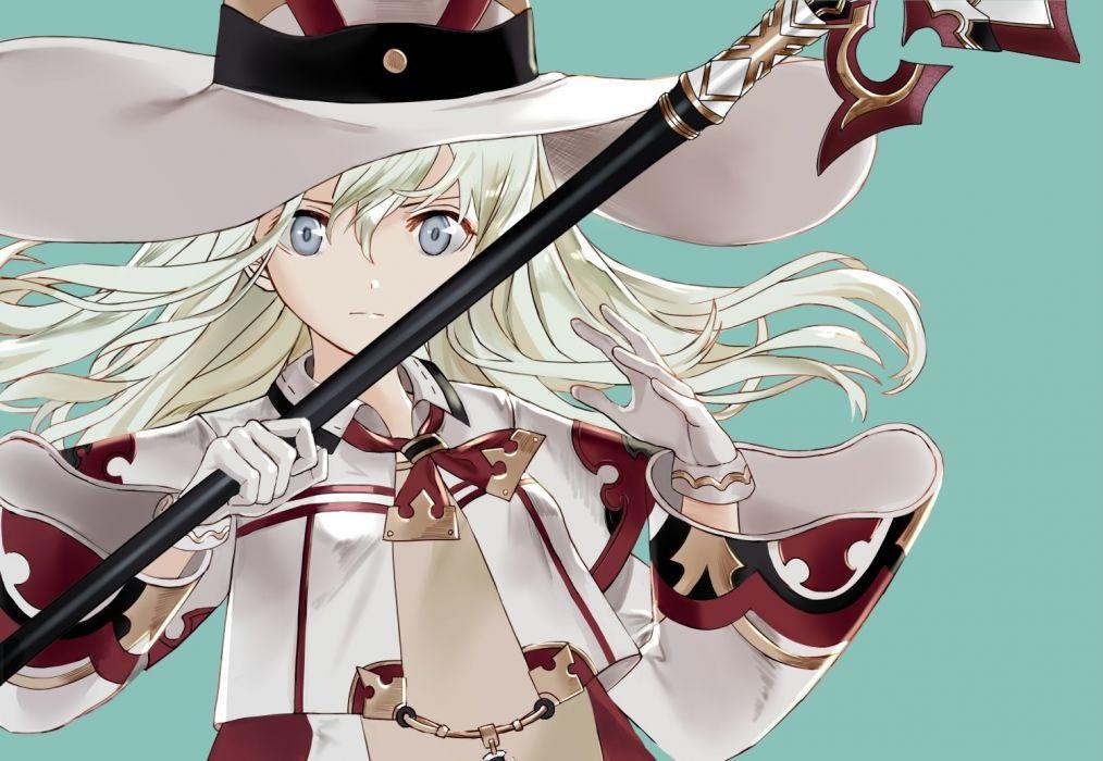 Konachan com - 240460 anthropomorphism blonde hair cosplay final fantasy gloves gray eyes hat long hair ro-500 (kancolle) ruisento spear u-511 (kancolle) weapon wallpaper