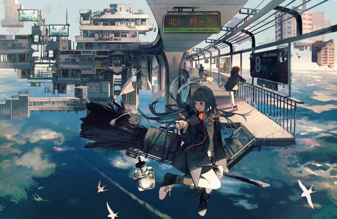 Konachan com - 240428 animal bird building city clouds headphones kukka long hair original paper sky vocaloid wallpaper