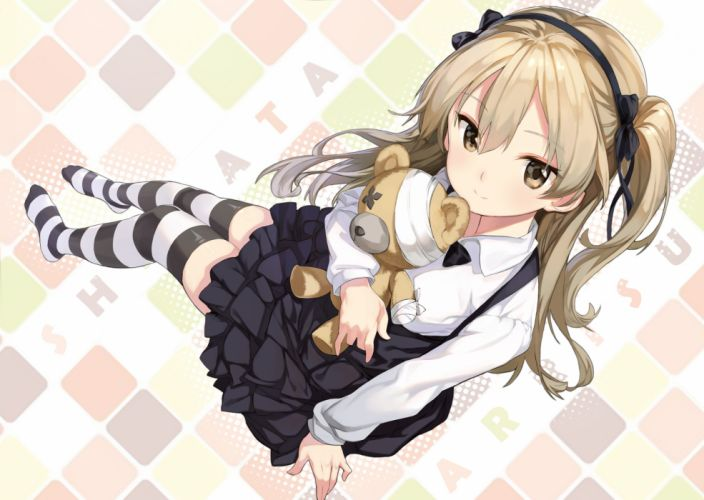 Konachan com - 240479 bow brown eyes brown hair dress girls und panzer headband long hair oneko shimada arisu teddy bear thighhighs zettai ryouiki wallpaper