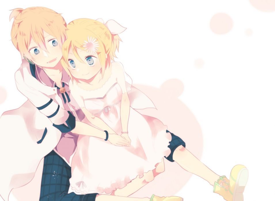 Konachan com - 240497 blonde hair dress kagamine len kagamine rin male see through short hair tagme (artist) vocaloid wristwear wallpaper