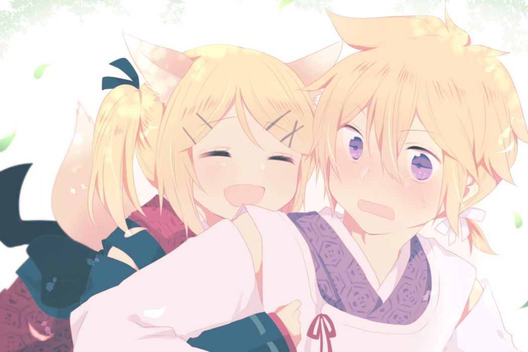Konachan com - 240498 animal ears blonde hair foxgirl hug kagamine len kagamine rin male purple eyes short hair tagme (artist) tail vocaloid wallpaper