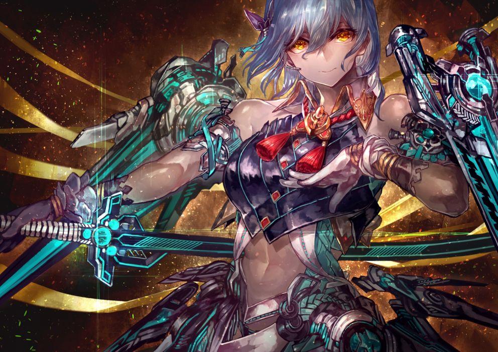 Konachan com - 240464 gloves mechagirl microphone original samurai short hair signo aaa sword weapon yellow eyes wallpaper