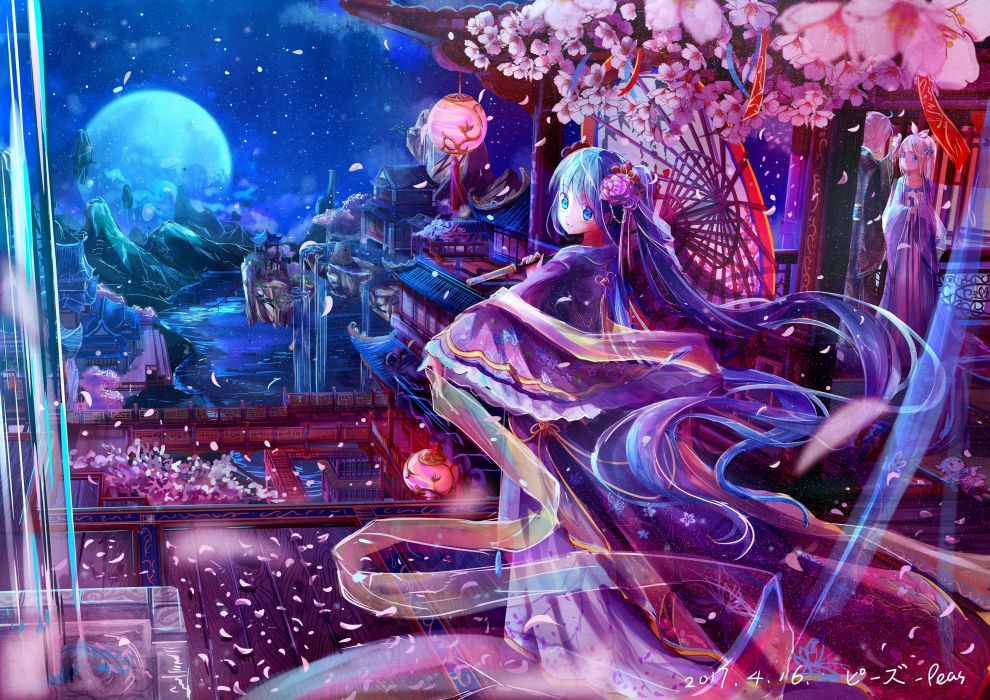 Konachan com - 240495 aqua eyes aqua hair doll hatsune miku kagamine rin kamui kanna kimono long hair male moon night petals short hair twintails umbrella vocaloid wallpaper