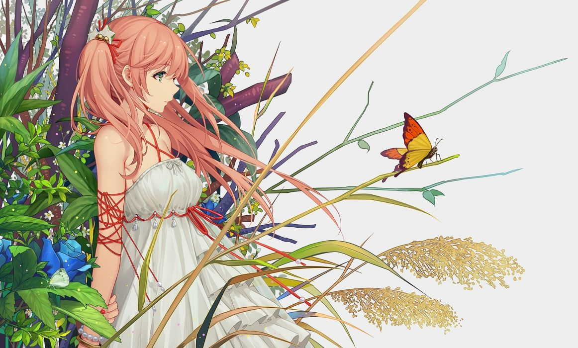 Konachan com - 240529 butterfly dress flowers green eyes long hair orange hair original tidsean wallpaper