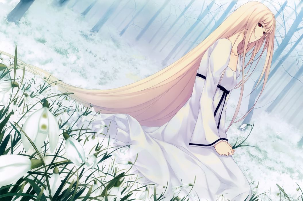 Konachan com - 240607 blonde hair caucasus dress long hair nanatsuki shion red eyes sugina miki tree wallpaper