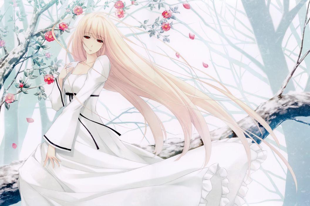 Konachan com - 240608 blonde hair caucasus dress flowers long hair nanatsuki shion petals red eyes sugina miki tree wallpaper