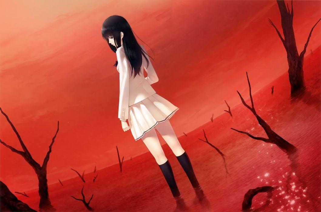 Konachan com - 240609 black eyes black hair kara no shoujo kneehighs kuchiki touko long hair red seifuku skirt sugina miki tree wallpaper