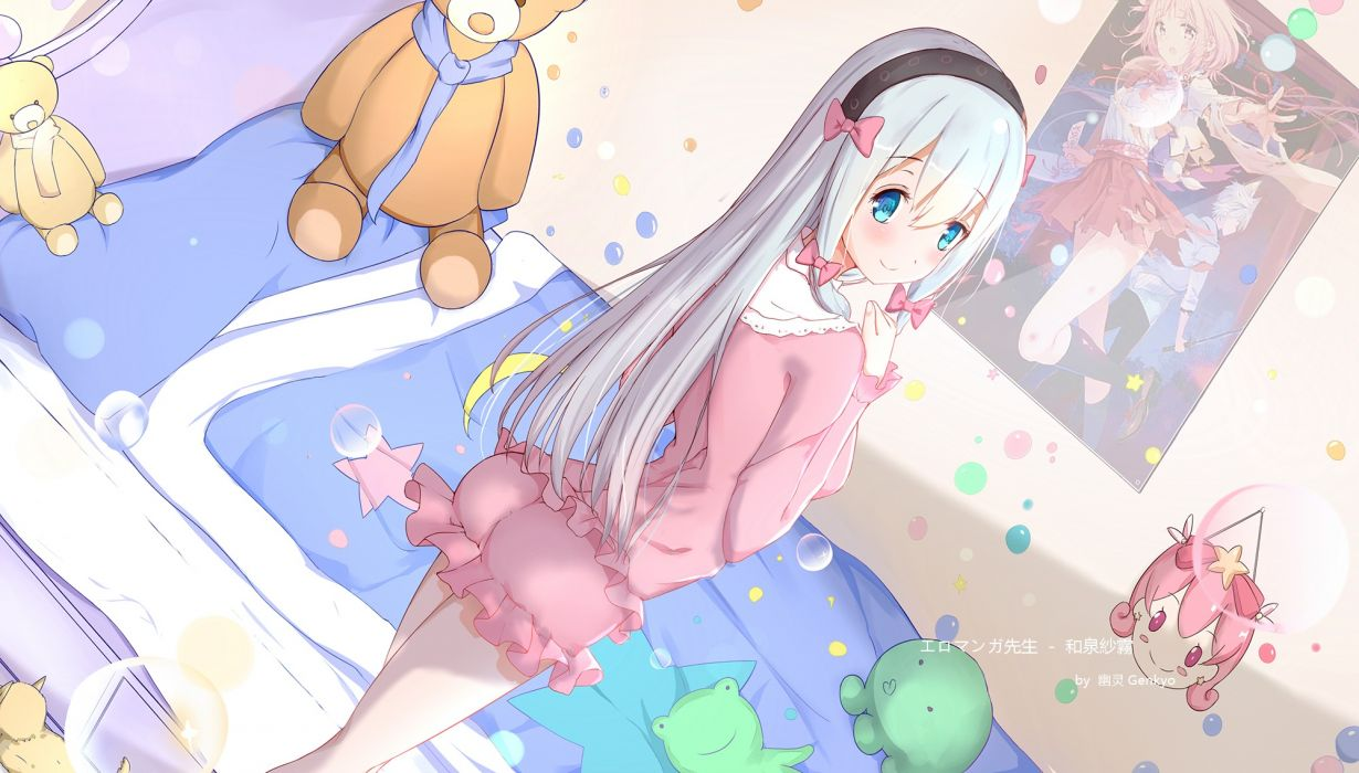 Konachan com - 240654 aqua eyes bed blush bubbles eromanga-sensei gray hair headband izumi sagiri loli long hair scarf shorts tagme (artist) teddy bear wallpaper
