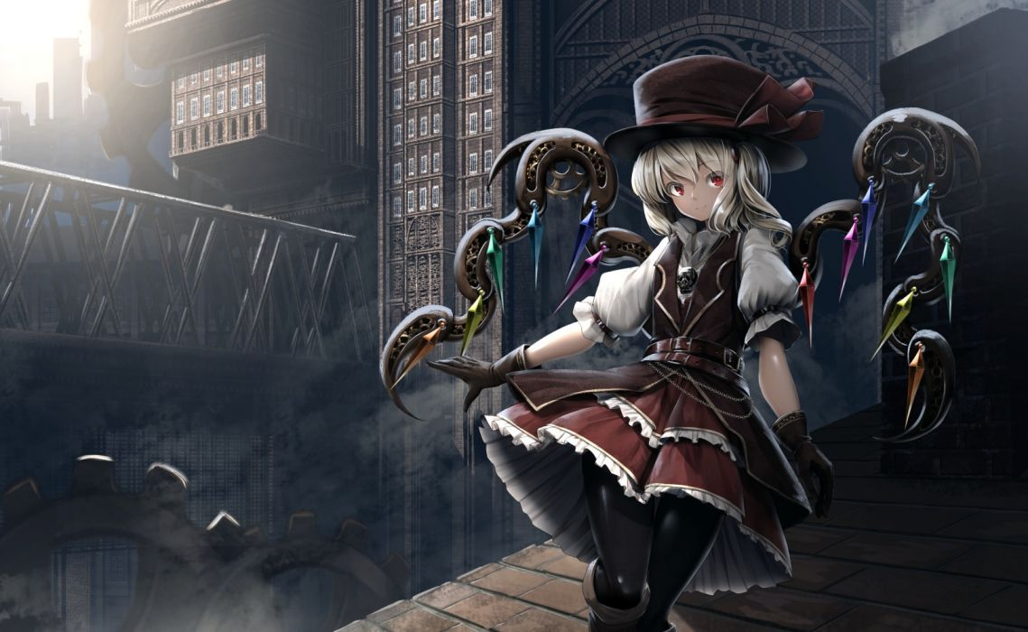 Konachan com - 240657 blonde hair flandre scarlet hat industrial red eyes ryosios short hair touhou vampire wings wallpaper