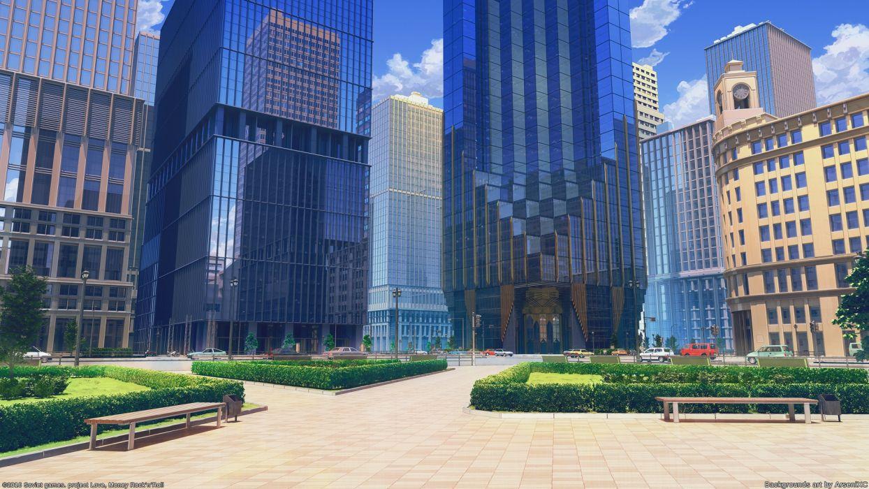 Konachan com - 239867 arsenixc building car city clouds love money rock'n'roll nobody park realistic scenic sky watermark wallpaper