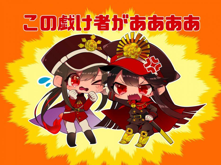 Konachan com - 239882 beriko blush boots brown hair cape chibi fate grand order fate (series) gloves hat long hair male military ponytail red eyes uniform wallpaper
