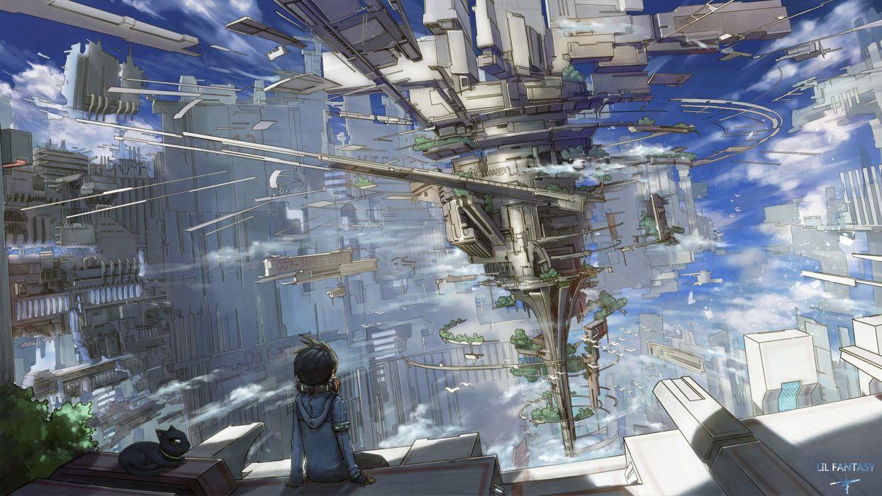 Konachan com - 239933 animal building cat city clouds hoodie kieed k kanehira original scenic sky wallpaper