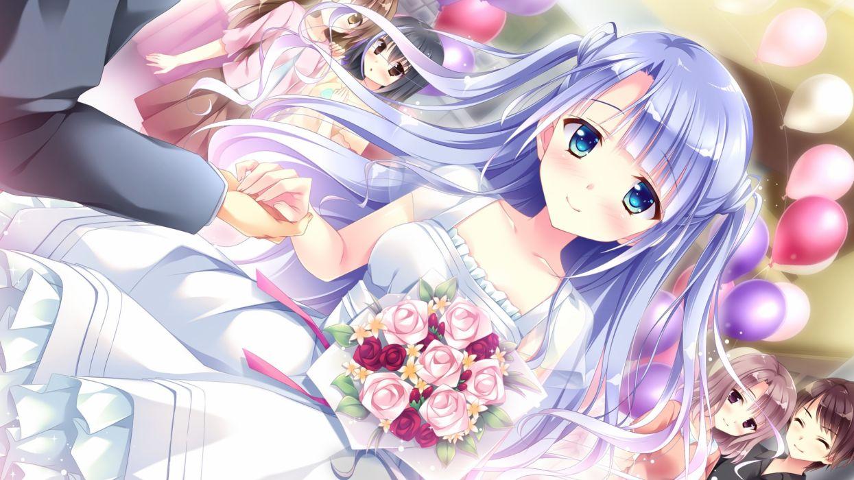 Konachan com - 239759 black hair blue eyes blue hair blush brown eyes brown hair dress flowers game cg kimishima ao long hair ougi ichika short hair skirt wallpaper