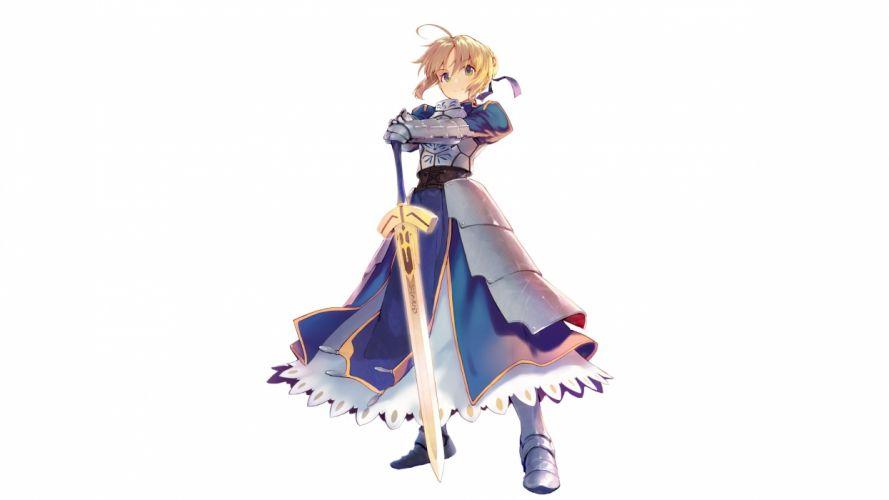 Konachan com - 239856 armor blonde hair fate (series) fate stay night green eyes headdress ribbons saber shirabi (life-is-free) sword weapon white wallpaper