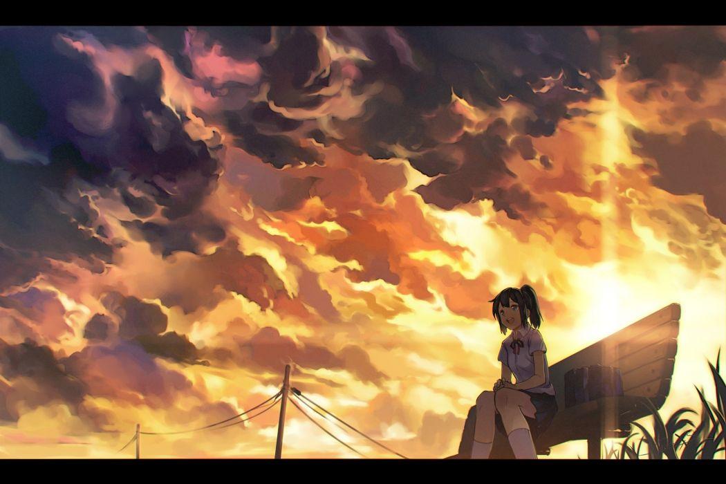 Konachan com - 239859 aqua eyes black hair clouds kneehighs m b original ribbons seifuku short hair skirt sky sunset twintails wallpaper