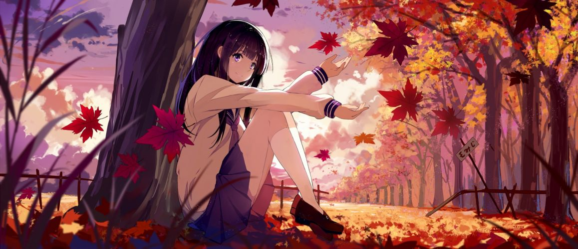 Konachan com - 239849 autumn black hair chitanda eru clouds haraguroi you hyouka kneehighs leaves long hair purple eyes seifuku skirt sky waifu2x wallpaper