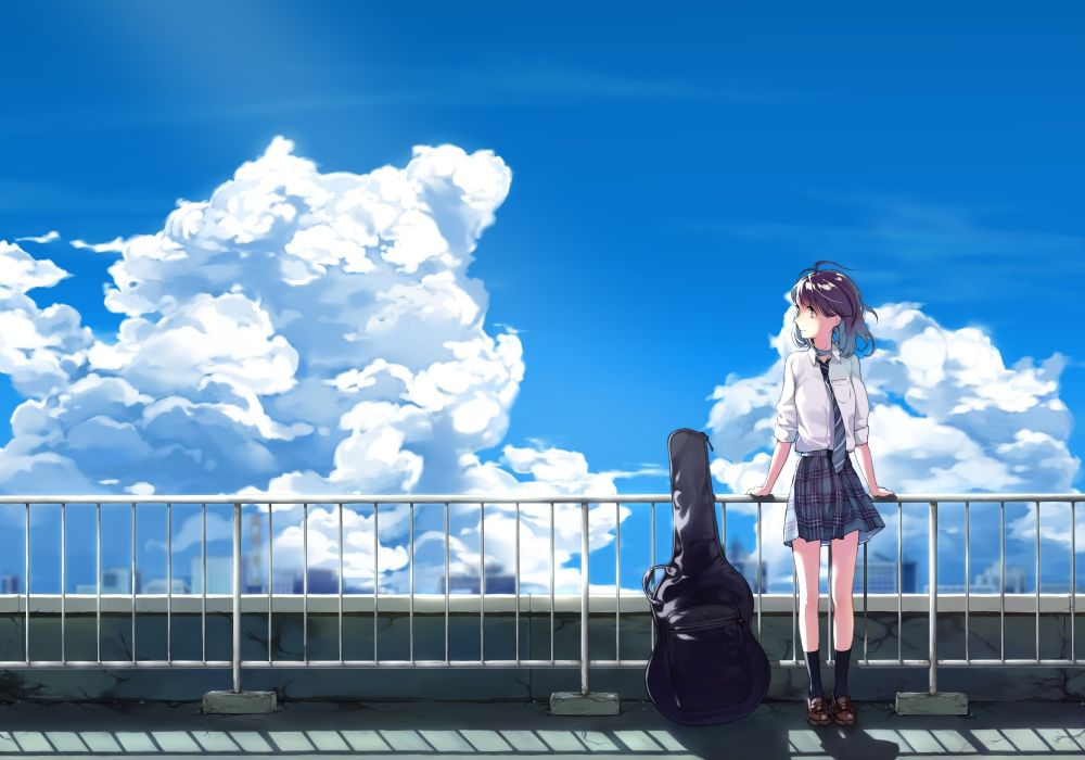 Konachan com - 239662 black hair clouds instrument kneehighs original rooftop seifuku short hair skirt sky tagme (artist) tie wallpaper