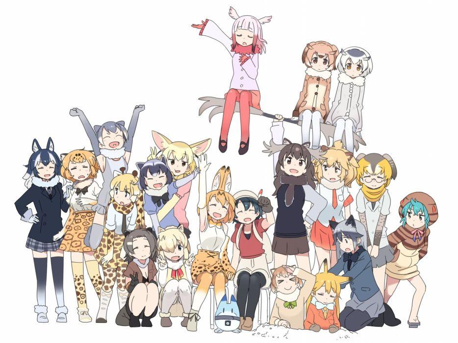 Konachan com - 239684 animal ears anthropomorphism catgirl foxgirl group kaban kasa list kemono friends lion (kemono friends) serval tsuchinoko wolfgirl wallpaper