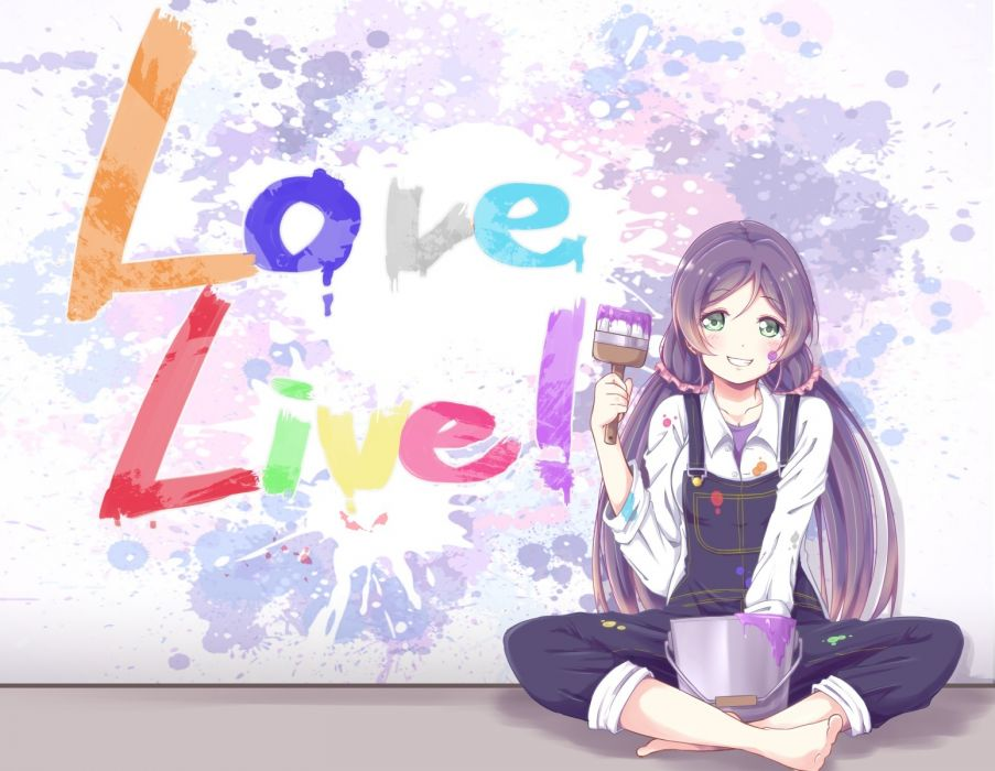 Konachan com - 239685 barefoot blush graffiti green eyes long hair love live! school idol project purple hair tagme (artist) toujou nozomi twintails wallpaper