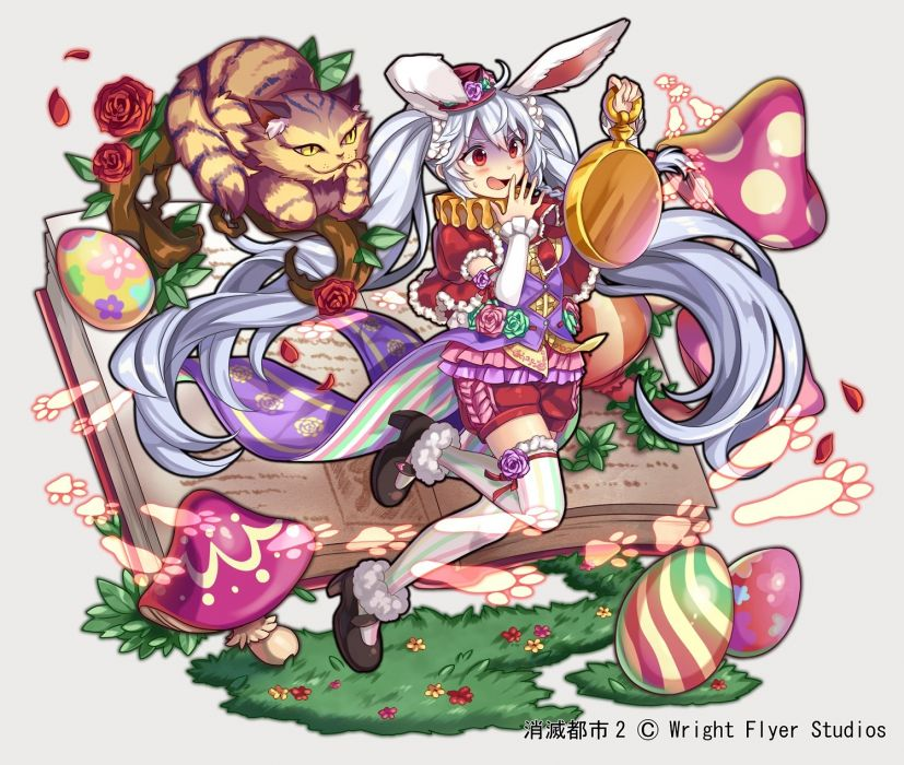 Konachan com - 239689 animal animal ears blush book bunny ears bunnygirl cat collar flowers gray hair hat long hair nou red eyes rose shorts tail thighhighs watermark wallpaper
