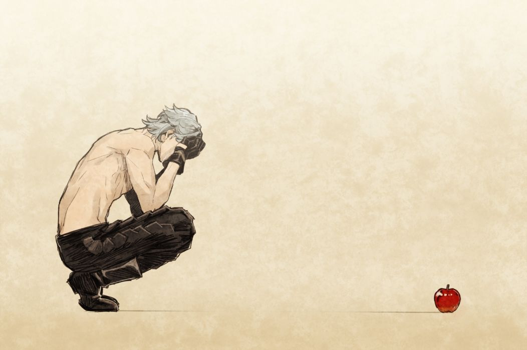 Konachan com - 239734 all male apple boots brown crying food fruit gloves gray hair male nier nier automata short hair sketch tagme (artist) tears topless wallpaper