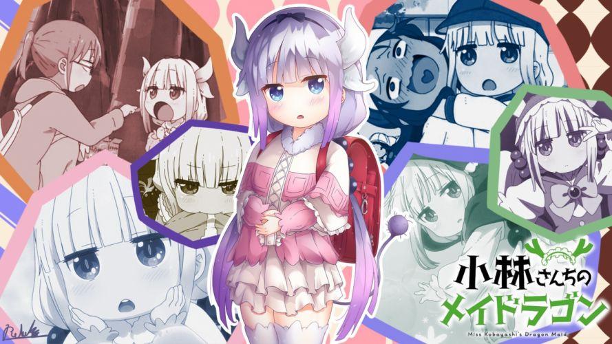 Konachan com - 239470 aqua eyes blush horns iso (pixiv15197676) kamui kanna loli long hair photoshop purple hair saikawa riko signed tail thighhighs white wallpaper