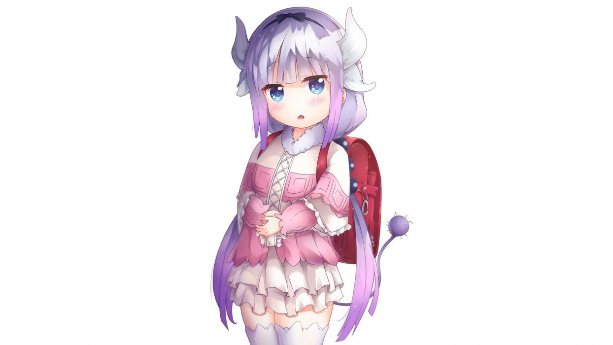 Konachan com - 239502 aqua eyes blush horns iso (pixiv15197676) kamui kanna kobayashi-san chi no maid dragon loli long hair photoshop purple hair tail thighhighs white wallpaper