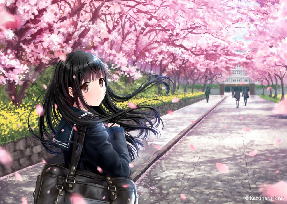Konachan com - 239493 black hair brown eyes cherry blossoms kazuharu kina long hair original petals seifuku tree watermark wallpaper