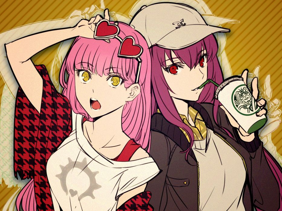 Konachan com - 239481 2girls drink fate grand order fate (series) glasses hat long hair pink hair purple hair red eyes shimo (s kaminaka) yellow eyes wallpaper