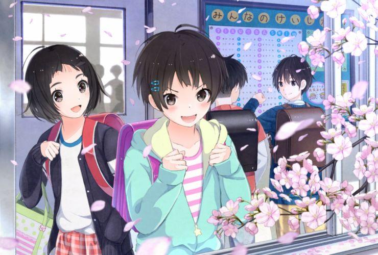Konachan com - 239526 black eyes black hair blush cherry blossoms male original petals short hair skirt taka (tsmix) wallpaper
